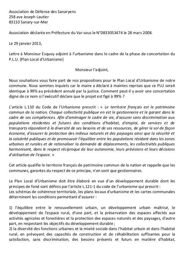 Association de Défense des Sanaryens258 ave Joseph Lautier83110 Sanary-sur-MerAssociation déclarée en Préfecture du Var so...