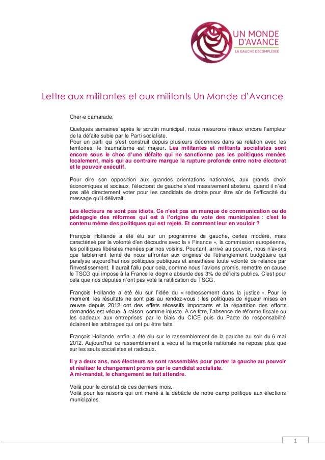 1 Lettre aux militantes et aux militants Un Monde d'Avance Cher-e camarade, Quelques semaines après le scrutin municipal, ...