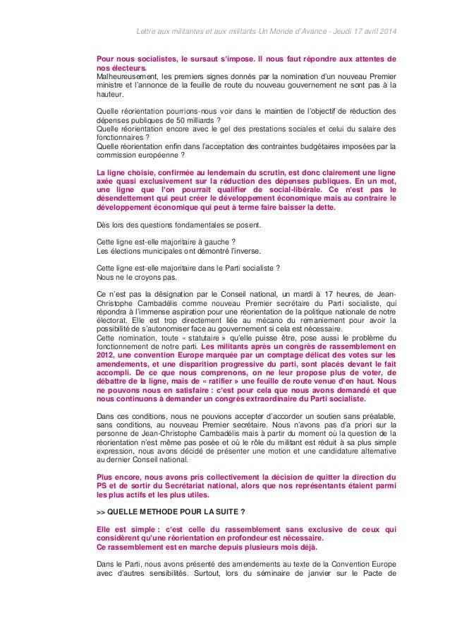 Lettre aux militantes et aux militants Un Monde d'Avance - Jeudi 17 avril 2014 Pour nous socialistes, le sursaut s'impose....