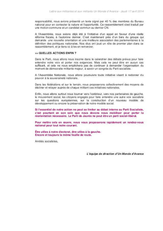 Lettre aux militantes et aux militants Un Monde d'Avance - Jeudi 17 avril 2014 responsabilité, nous avions présenté un tex...