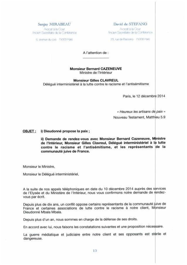 Lettre des avocats de Dieudonné au ministre de l'Intérieur.