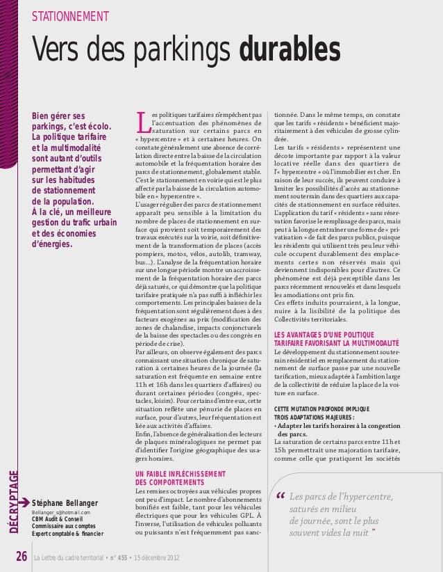 La Lettre du cadre territorial • n° 455 • 15 décembre 201226 DÉCRYPTAGE L es politiques tarifaires n'empêchent pas l'accen...