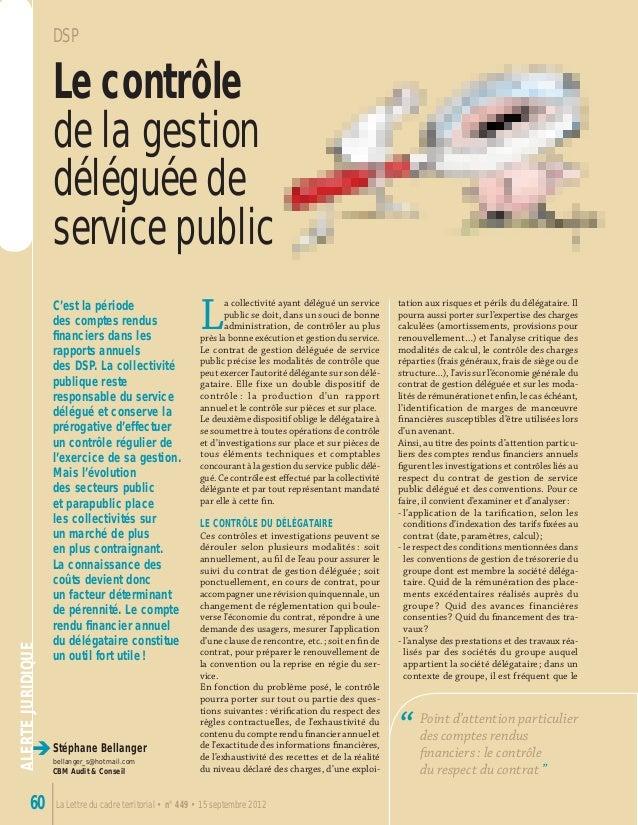 ALERTEJURIDIQUE è La Lettre du cadre territorial • n° 449 • 15 septembre 201260 Stéphane Bellanger bellanger_s@hotmail.com...