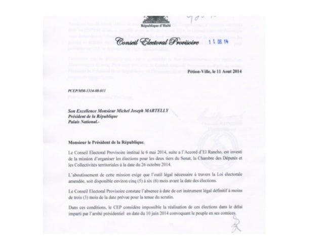 Lettre du CEP au President Michel Martelly 11 aout 2014