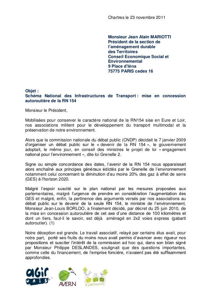 Chartres le 23 novembre 2011                                            Monsieur Jean Alain MARIOTTI                      ...