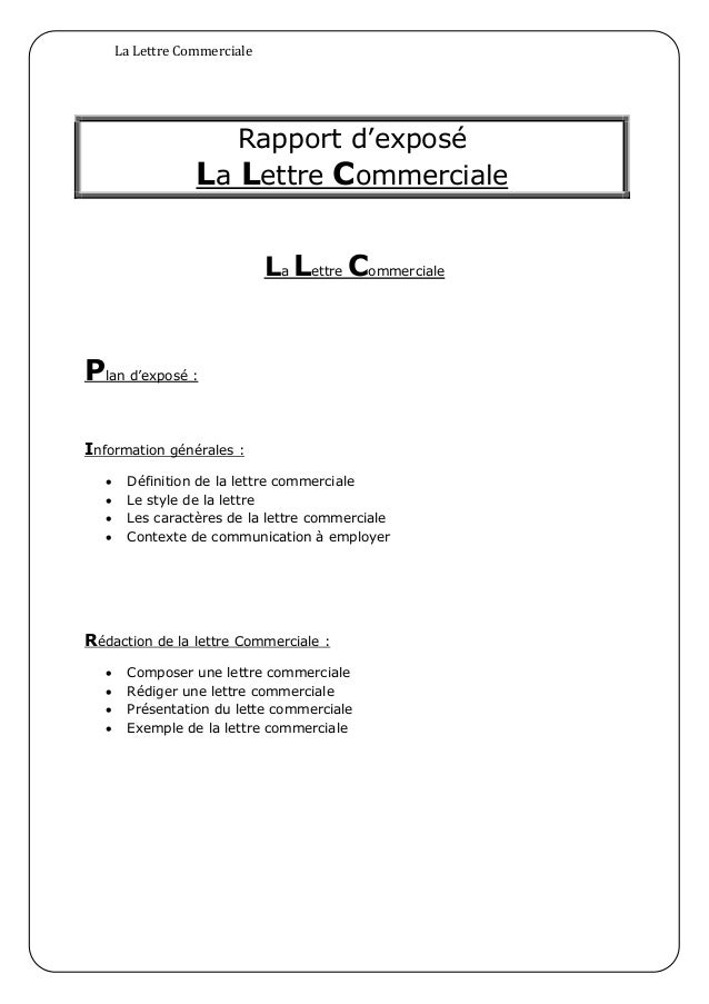 lettre commercial