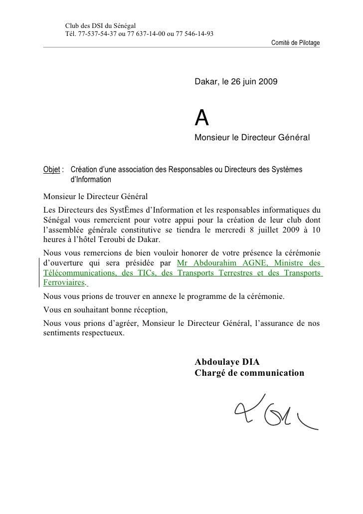 lettre confirmation invitation aux dg ag du 8 jul 09