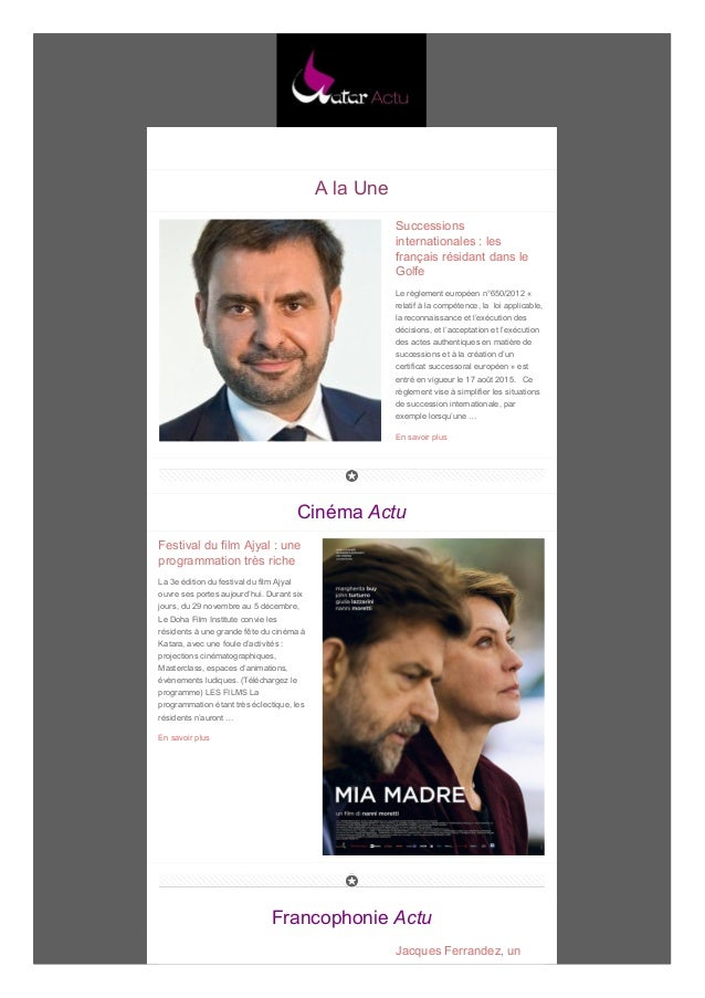 A la Une Successions internationales : les français résidant dans le Golfe Le règlement européen n°650/2012 « relatif à la...