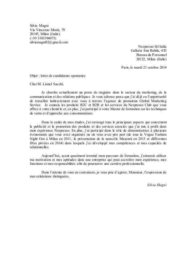 exemple lettre de motivation nespresso