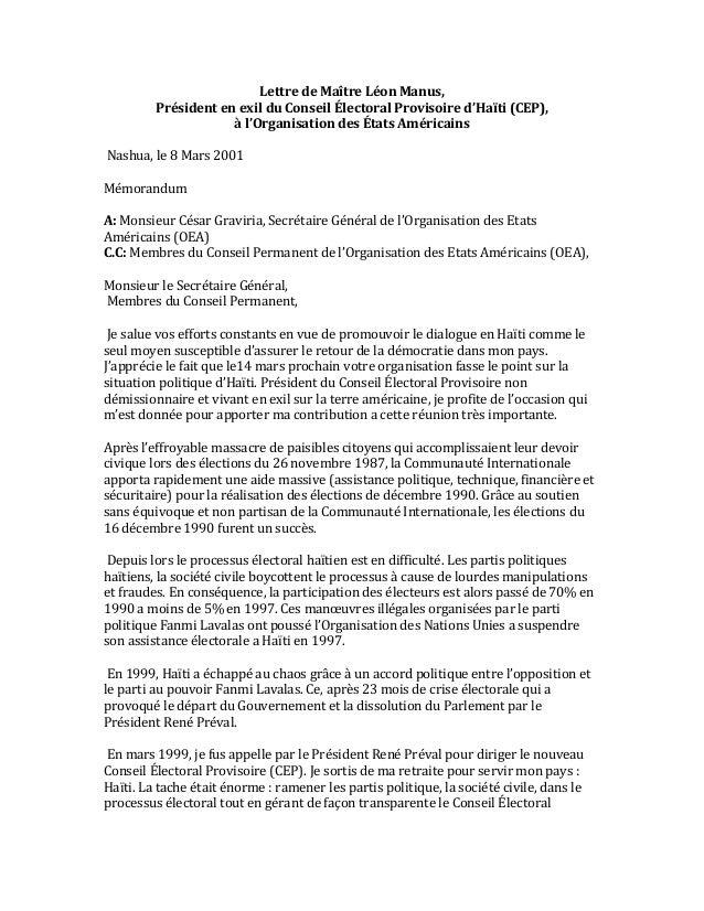 Lettre  de  Maître  Léon  Manus,   Président  en  exil  du  Conseil  Électoral  Provisoire  d'Haït...