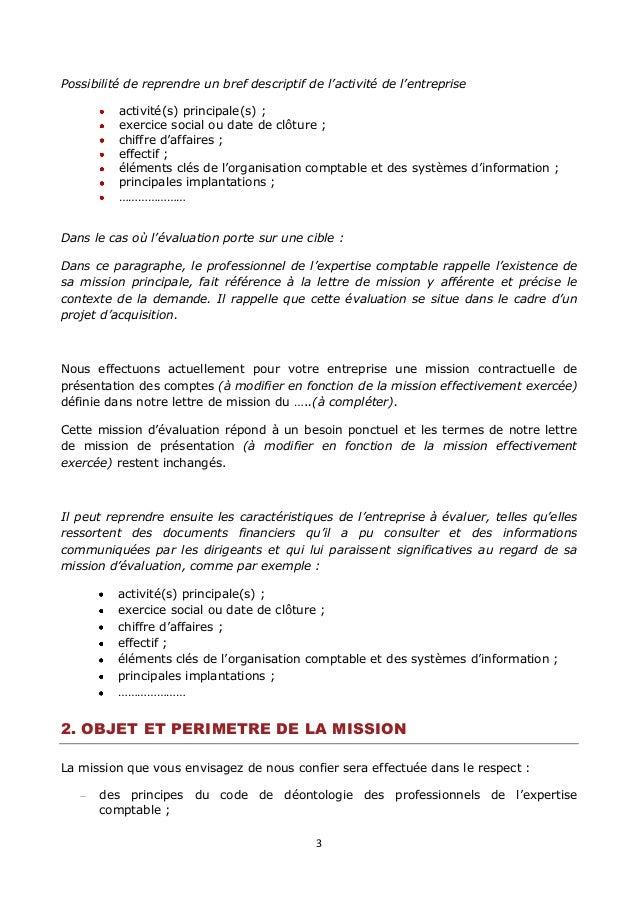 lettre de mission de l u0026 39 expert comptable