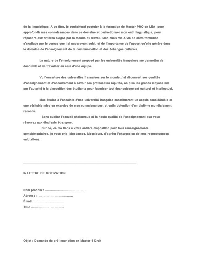 lettre de motivation pdf master