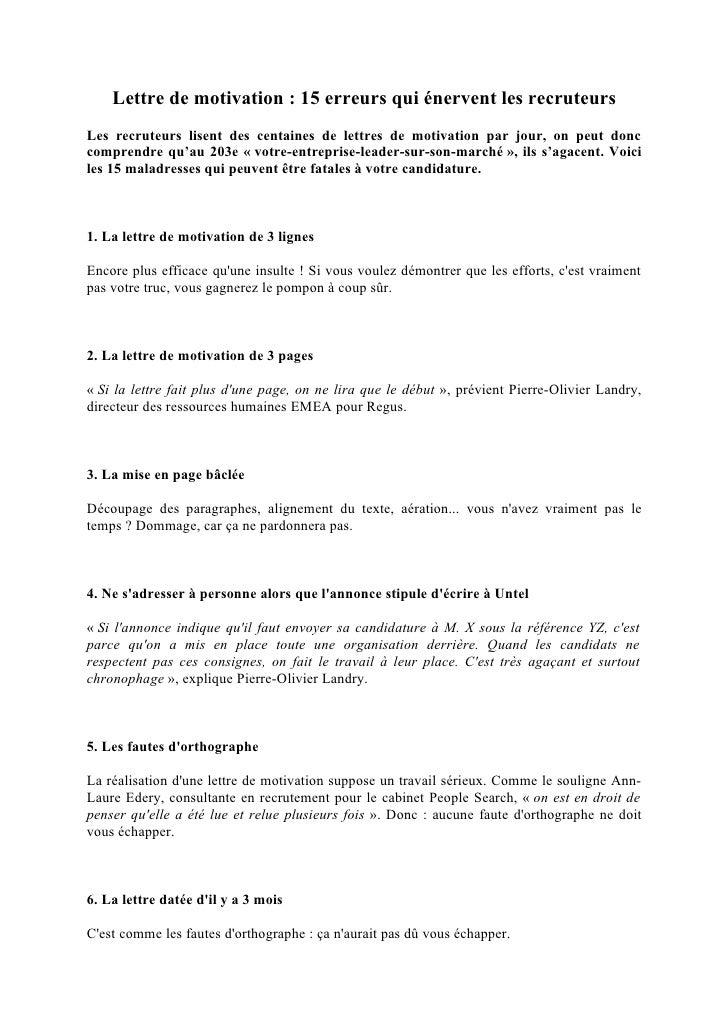 lettre de motivation 15 erreurs qui  u00e9nervent les recruteurs