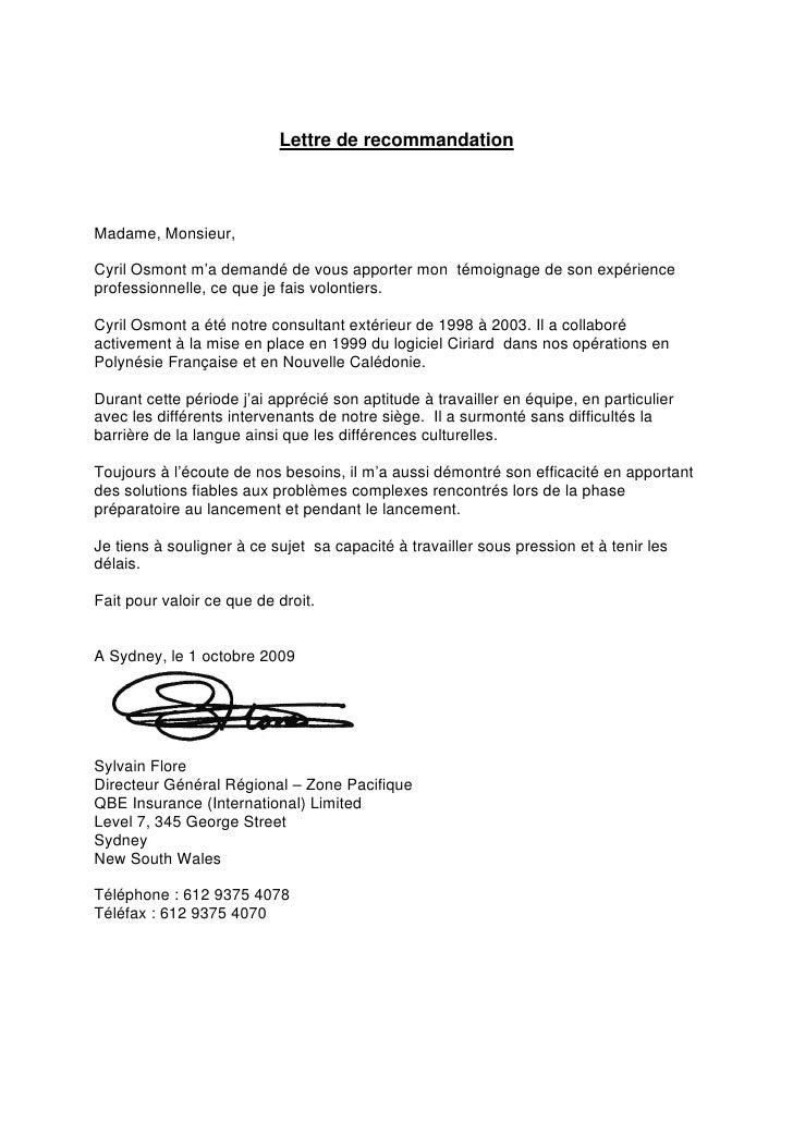 lettre de recommandation