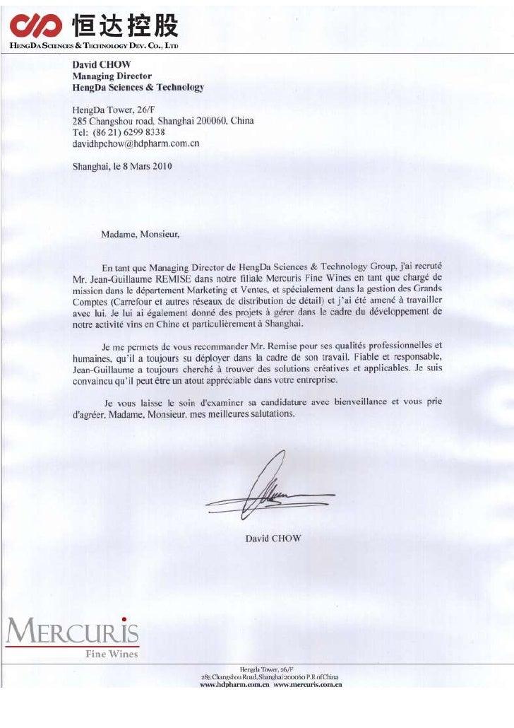 lettre de recommandation david chow