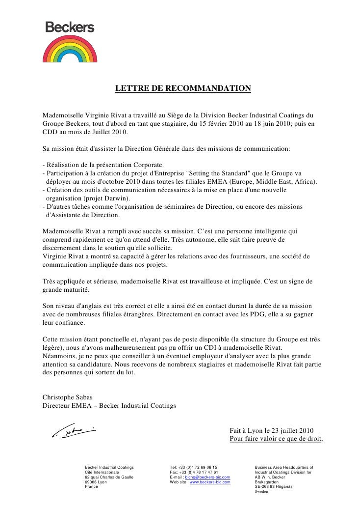 Lettre de recommandation   Becker Industrial coatings