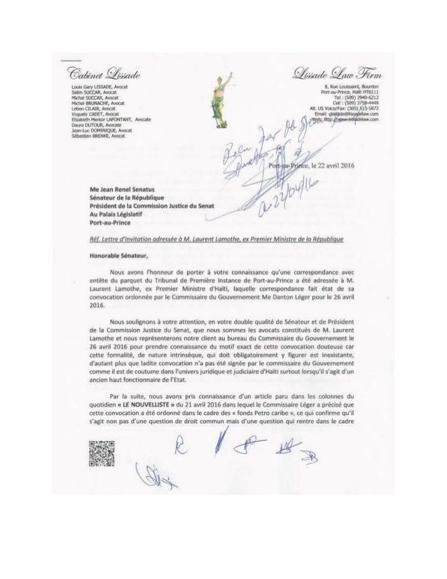 Lettre du cabinet Lissade à Jean Renel Sénatus on
