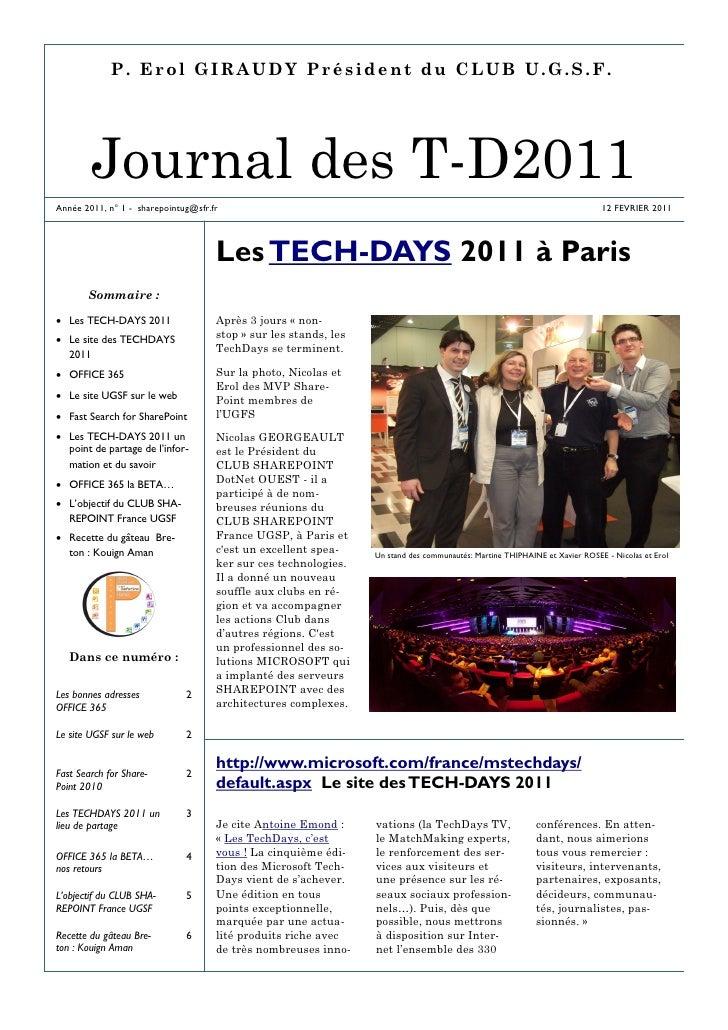 P. Erol GIRAUDY Président du CLUB U.G.S.F.        Journal des T-D2011Année 2011, n° 1 - sharepointug@sfr.fr               ...