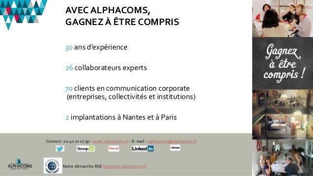 30 ans d'expérience 26 collaborateurs experts 70 clients en communication corporate (entreprises, collectivités et institu...