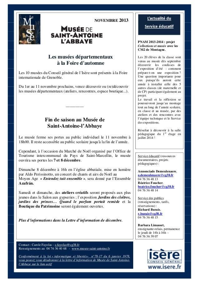 NOVEMBRE 2013  PNAM 2013-2014 : projet Collections et musée avec les CM2 de Montagne.  Les musées départementaux à la Foir...