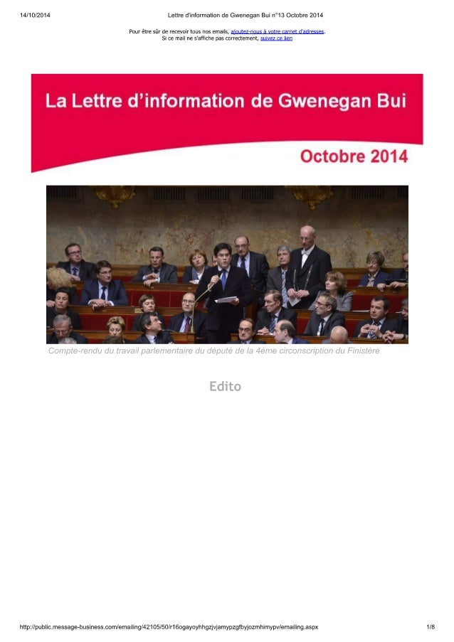 Lettre d'information de ...n bui n°13 octobre 2014