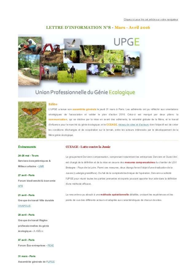 Cliquezicipourlirecetarticlesurvotrenavigateur LETTRED'INFORMATIONN°8MarsAvril2016 Edito L'UPGEatenues...