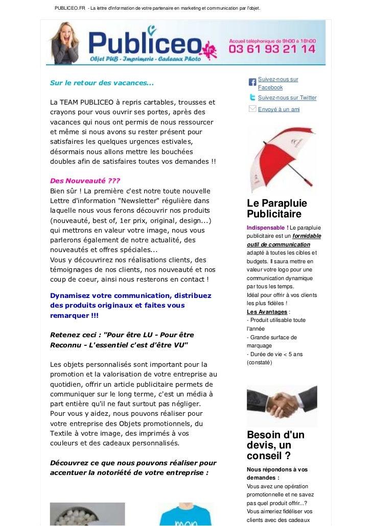 PUBLICEO.FR - La lettre dinformation de votre partenaire en marketing et communication par lobjet.                        ...