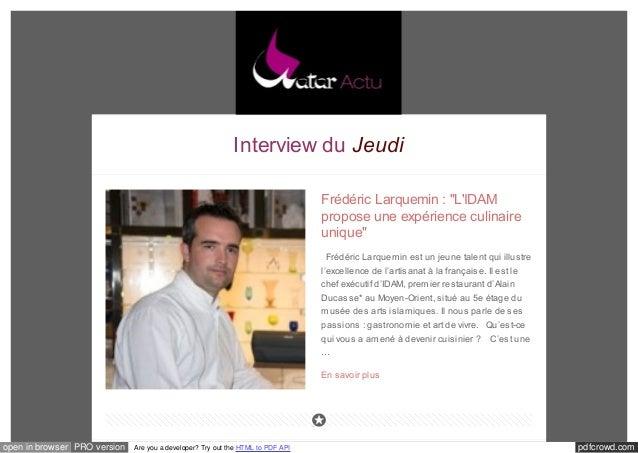 """Interview du Jeudi  Frédéric Larquemin : """"L'IDAM  propose une expérience culinaire  unique""""  Frédéric Larquemin est un jeu..."""