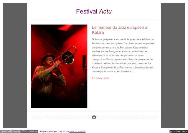 Festival Actu  Le meilleur du Jazz européen à  Katara  Doha se prépare à accueillir la première édition du  festival de Ja...