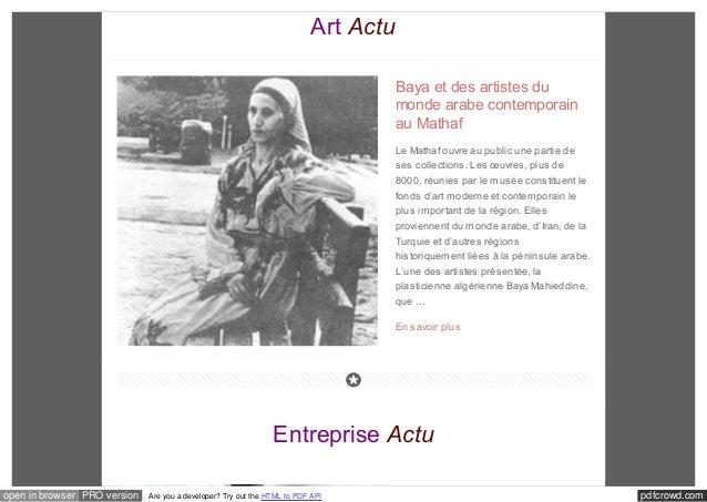Art Actu  Baya et des artistes du  monde arabe contemporain  au Mathaf  Le Mathaf ouvre au public une partie de  ses colle...