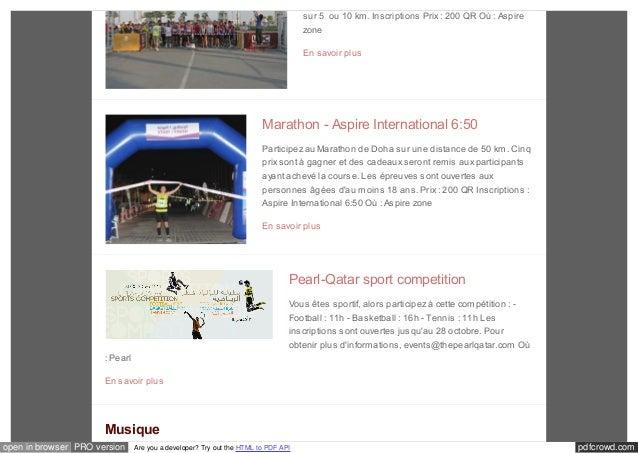 sur 5 ou 10 km. Inscriptions Prix : 200 QR Où : Aspire  zone  En savoir plus  Marathon - Aspire International 6:50  Partic...