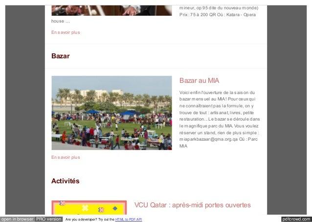 mineur, op 95 dite du nouveau monde)  Prix : 75 à 200 QR Où : Katara - Opera  house …  En savoir plus  Bazar  Bazar au MIA...