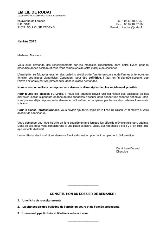 lettre de motivation admission lycee