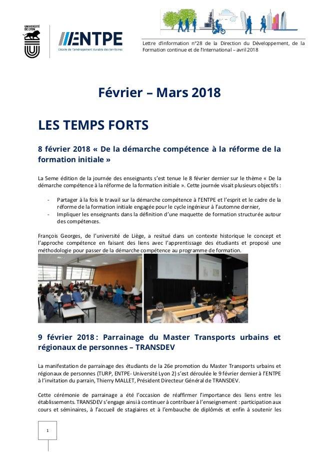 Lettre Dinformation Février Mars 2018