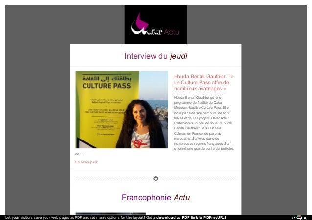 Interview du jeudi  Houda Benali Gauthier : «  Le Culture Pass offre de  nombreux avantages »  Houda Benali Gauthier gère ...