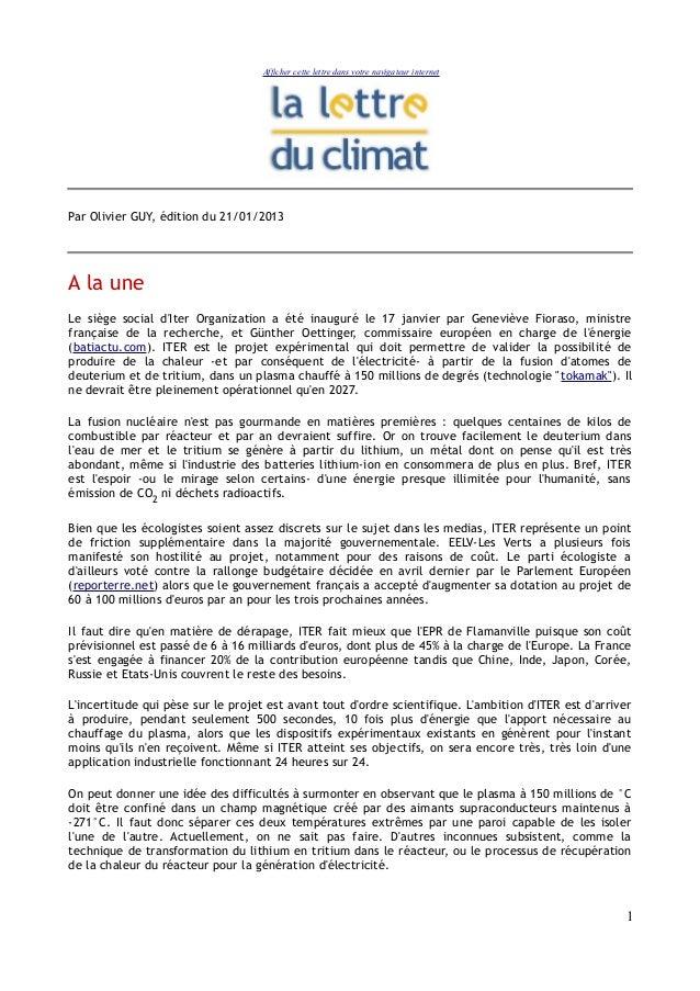Afficher cette lettre dans votre navigateur internetPar Olivier GUY, édition du 21/01/2013A la uneLe siège social dIter Or...