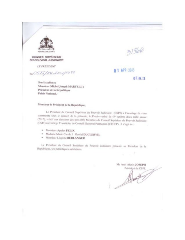 Lettre du Conseil Supérieur du Pouvoir Judiciaire d'Haiti Désignant ses 3 Membres au CTCEP Recu le 5 Avril 2013 au Palais ...