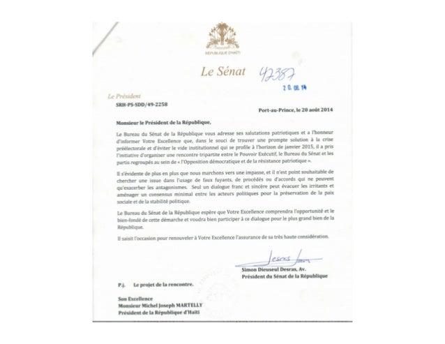 Lettre du President du Senat Simon Desras au President Michel Martelly 11 aout 2014