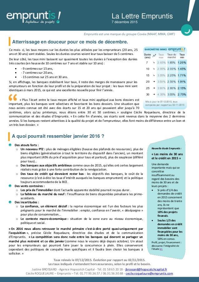 Ce mois- ci, les taux moyens sur les durées les plus utilisées par les emprunteurs (20 ans, 25 ans et 30 ans) sont stables...