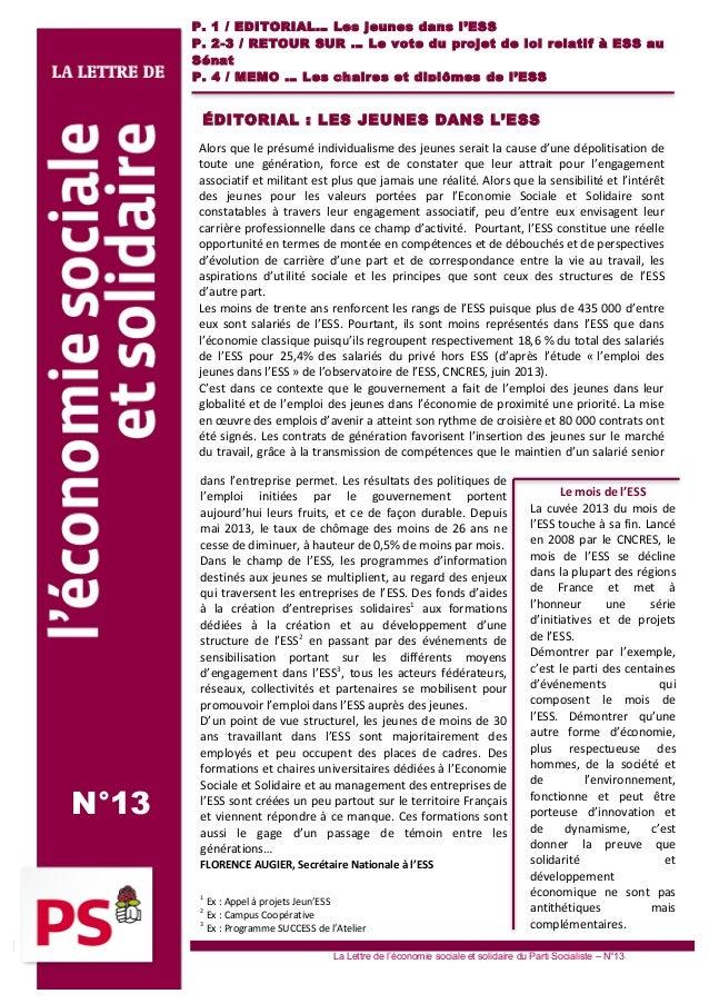 1 2                P . 1 / E D ITOR IA L… Les j eun es da ns l 'ES S P . 2 -3 / R E TOUR SUR … Le vote du proj et ...