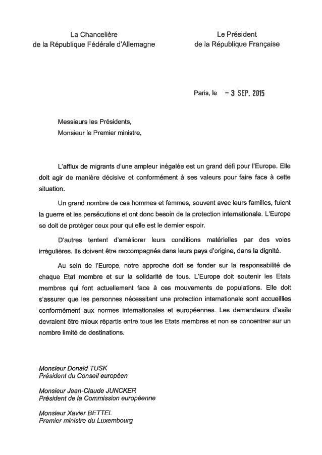 Lettre Franco- Allemandemigrations - 3 septembre