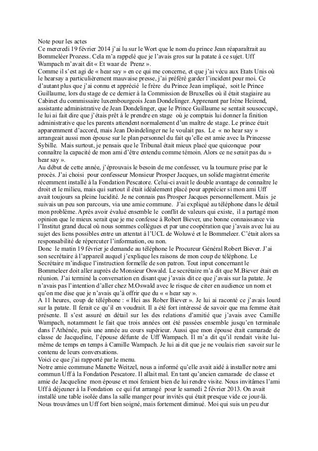 Note pour les actes Ce mercredi 19 février 2014 j'ai lu sur le Wort que le nom du prince Jean réaparaîtrait au Bommeléer P...