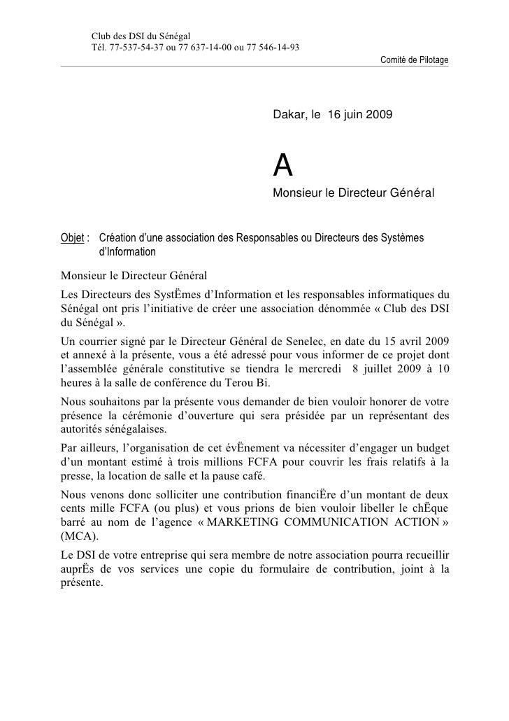 Club des DSI du Sénégal       Tél. 77-537-54-37 ou 77 637-14-00 ou 77 546-14-93                                           ...