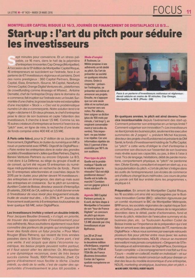 Start-up : L'art de séduire les investisseurs / Lettre M 03/2016