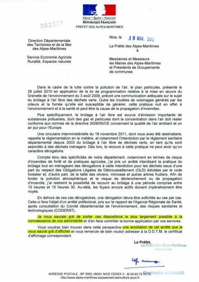 Lettre du préfet aux maires pour l'arrêté préfectoral 2012-1123