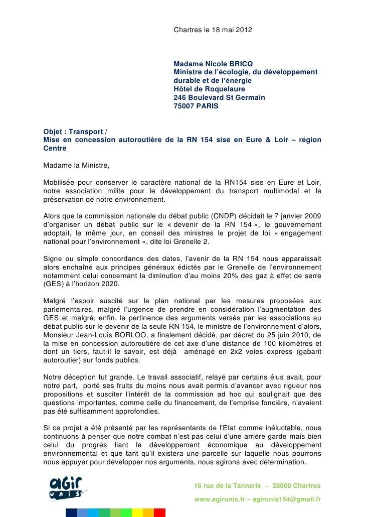 Chartres le 18 mai 2012                                        Madame Nicole BRICQ                                        ...