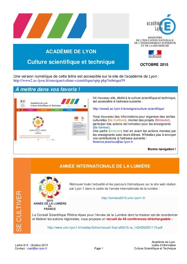 Lettre N°2 - Octobre 2015 Contact : cast@ac-lyon.fr Page 1 Académie de Lyon Lettre d'information Culture Scientifique et T...