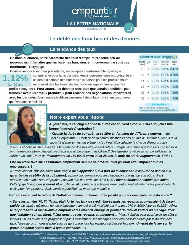 La tendance des taux LA LETTRE NATIONALE Notre expert vous répond Ce mois-ci encore, notre baromètre des taux d'emprunt pr...