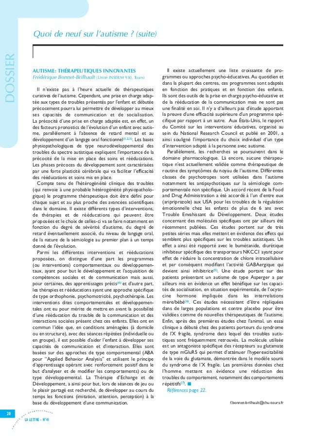 Lettre neurosciences autisme