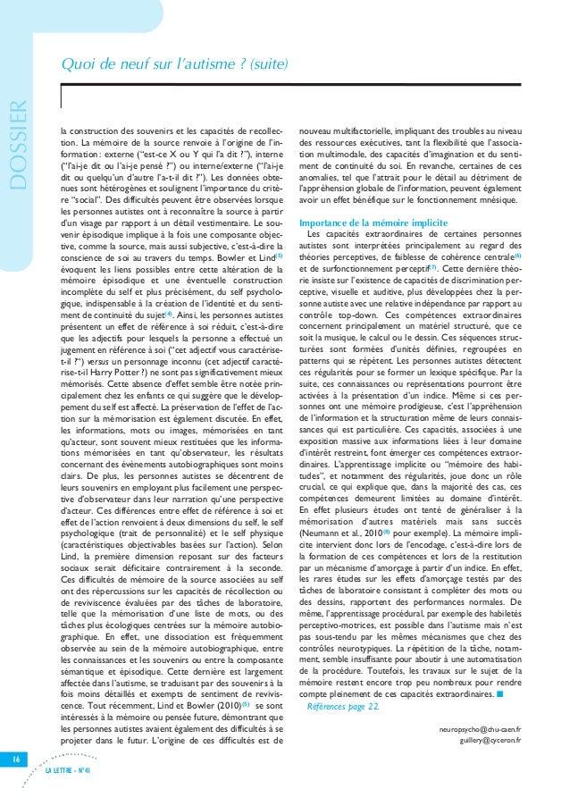 Let41 V8-7_Let25 28/11/11 15:54 Page16                                          Quoi de neuf sur l'autisme ? (suite) DOSSI...